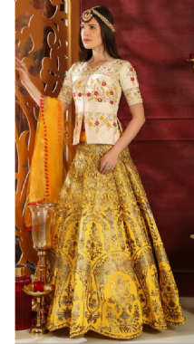 Yellow & Gold Brocade Lehenga